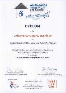 Dyplom dla UW Warszawska Inwestycja bez barier