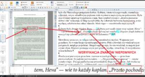Zrzut ekranu zprogramu OCR; przykład korekty znaków niepewnych wtekście rozpoznanym wmateriale skanowanym
