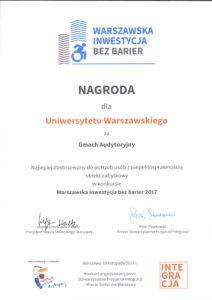 Nagroda dla Uniwersytetu Warszawskiego za Gmach Audytoryjny - Warszawska inwestycja bez barier 2017